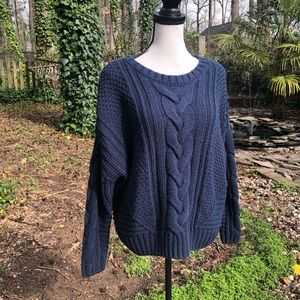 One A mixed knit crew neck sweater size la…